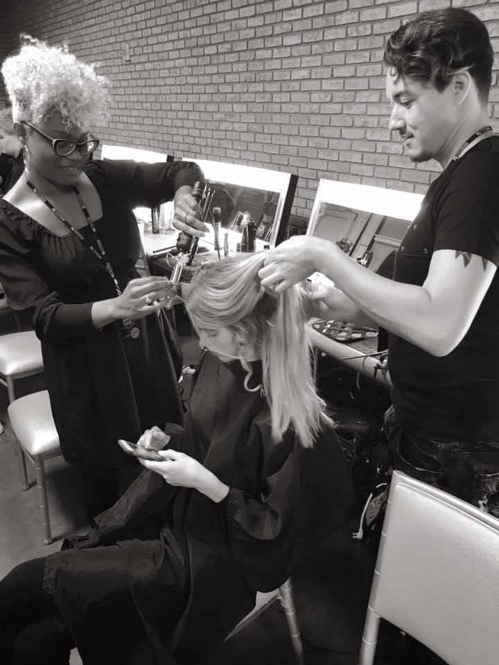 model Sophie longford double team on hair with Tiffany Brown & Matthew Tyldesley