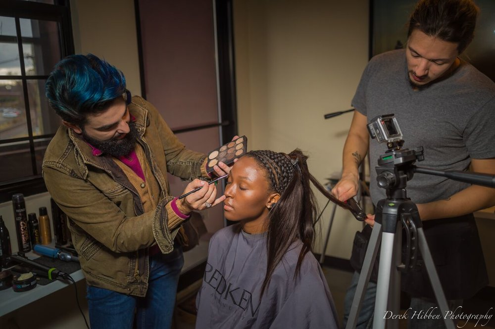 NAHA make up artist, Isidro paints model, Myah