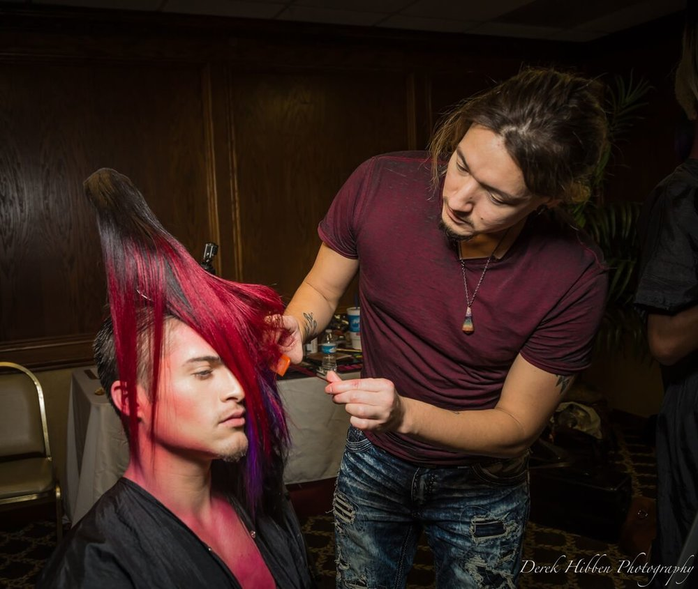 styling hair on Max  Image by Derek Hibben