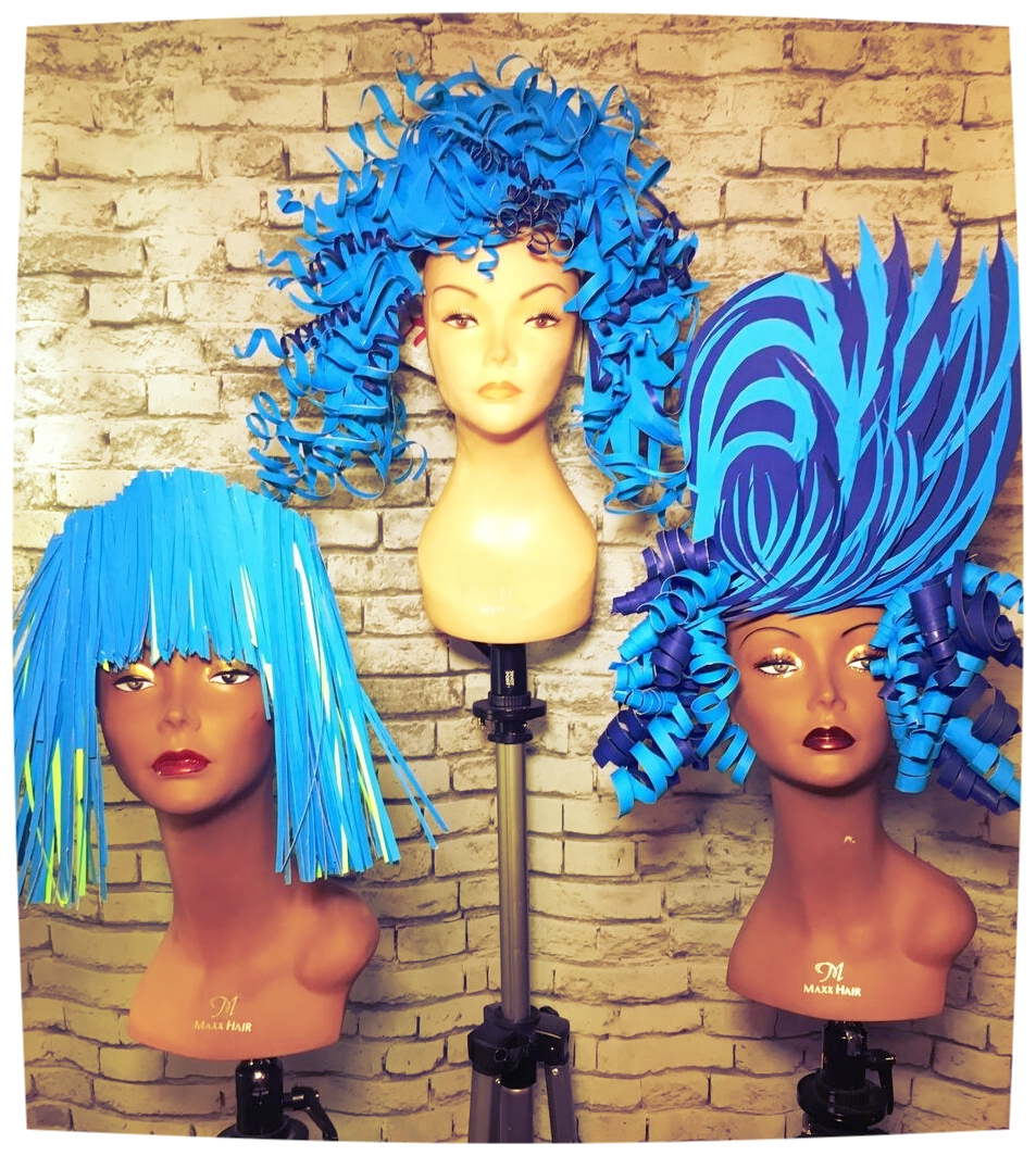 "my finished ""paper'' blue hair collection"
