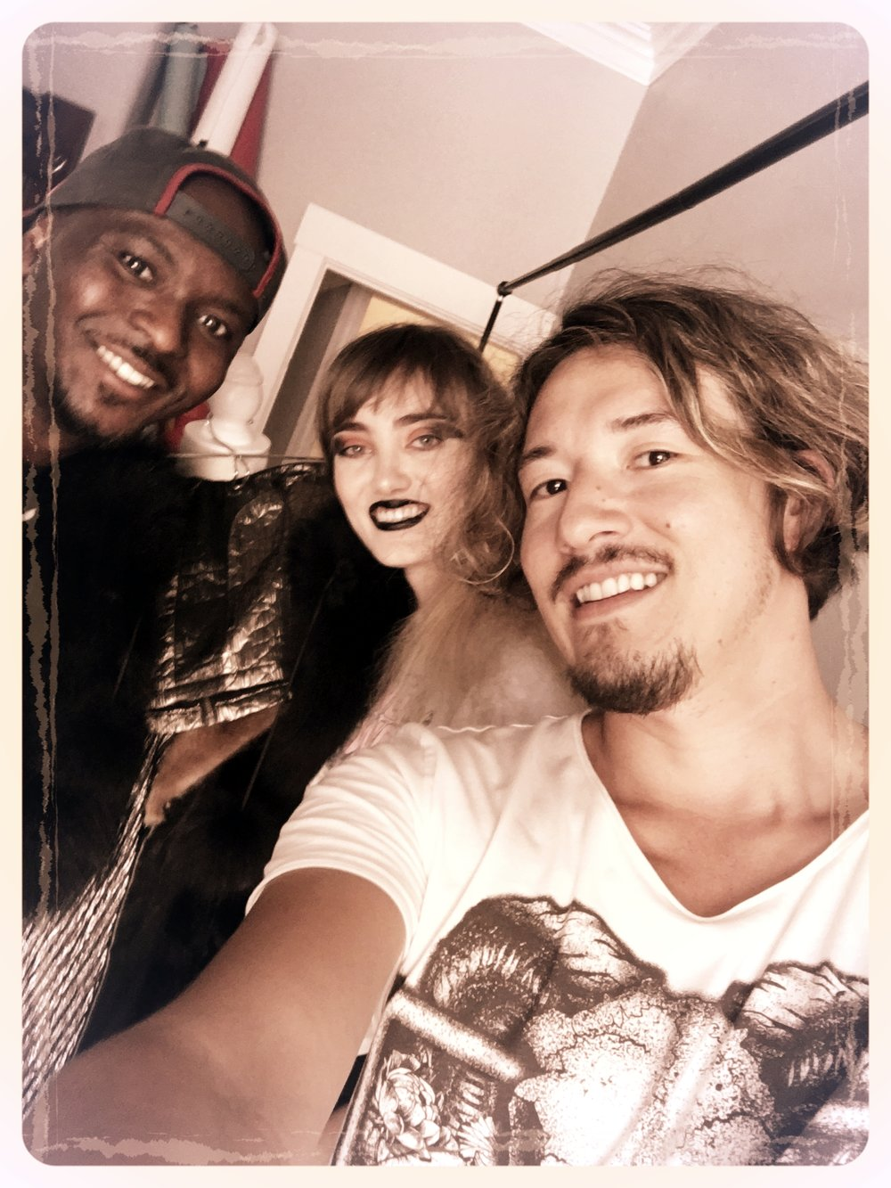 selfies on set with Erik & Olive