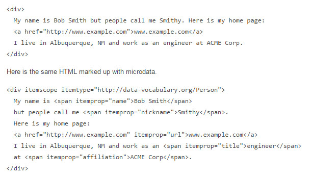Microdata Example from Google