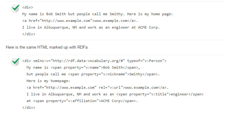 Example of RDFa from Google