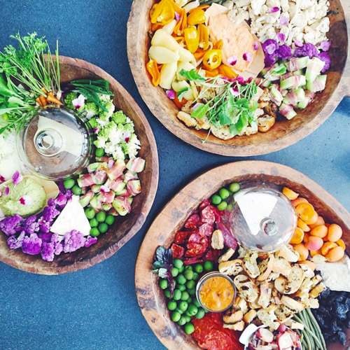 "These colorful crudités and antipasti spreads were made by Tehra Thorpe of T 3 Events, for our ""Jarries in LA"" party in Venice last June, co-hosted by onefinestay."