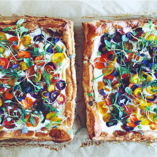 A Jackson Pollack-esque dinner party showstopper: Carrot Tart with Ricotta and Herbs. Get the recipe [Bon Appetit].