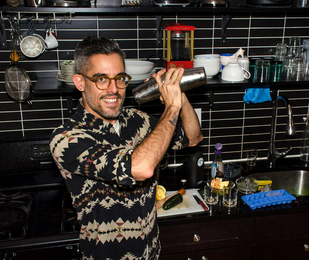 Mixologist Diego Sanchez in his home kitchen in Brooklyn.