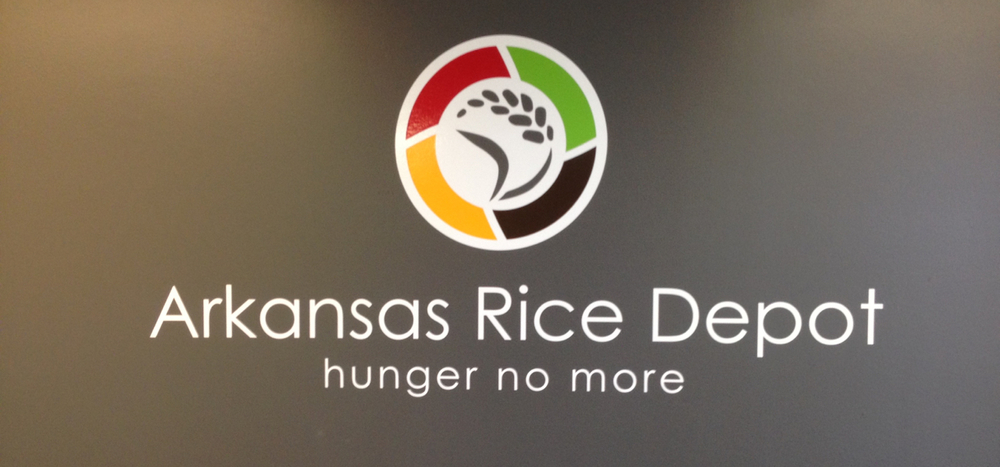Logo on the wall in the entry of the Arkansas Rice Depot
