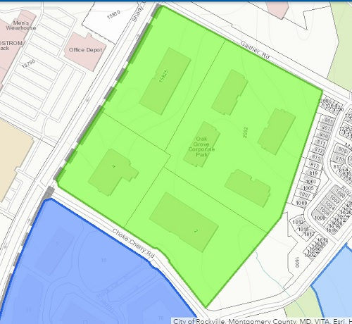 Current buildings on the site of the proposed Shady Grove Neighborhood Center. Map from City of Rockville website.