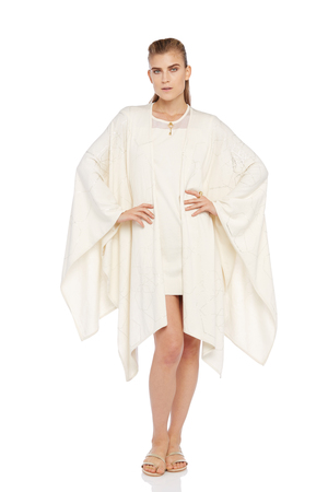 ECRU KNITTED PONCHO WITH POEM d9ba9bc2c