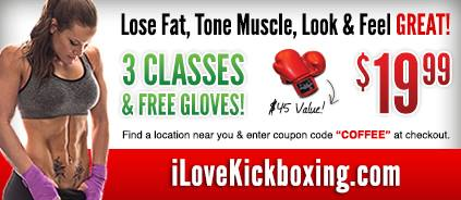 Go to ILoveKickboxing.com and enter the promo code COFFEE and receive 20% off their introductory rate!