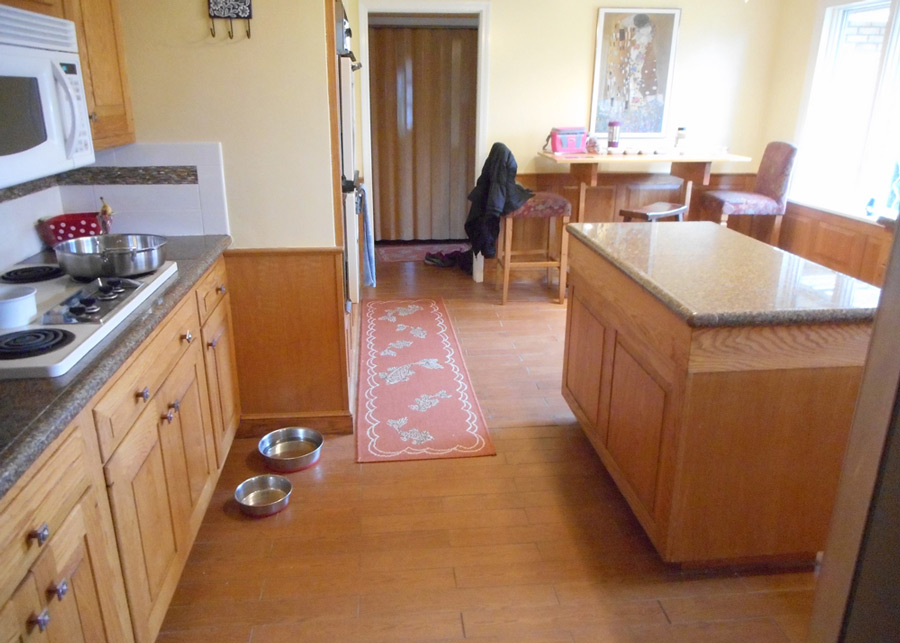 Kitchen cabinetry, granite tile top