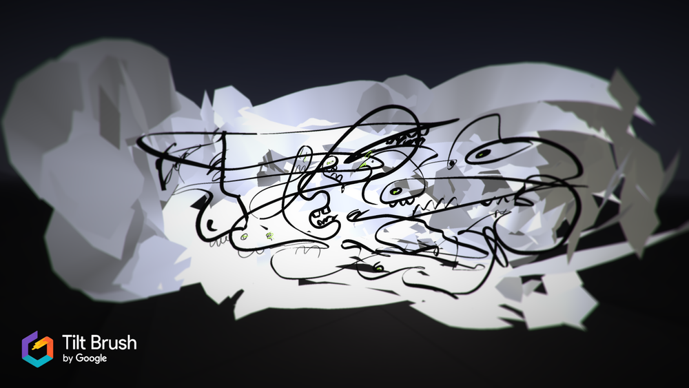Caption: Here's a Tilt Brush sketch I made. So much fun. Just put on your favorite music and go to town.