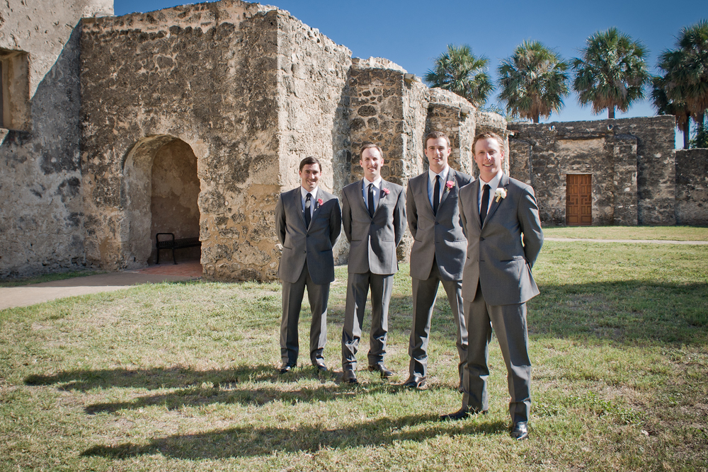 Groom and Groomsmen at Mission Concepción - San Antonio Wedding Photographer