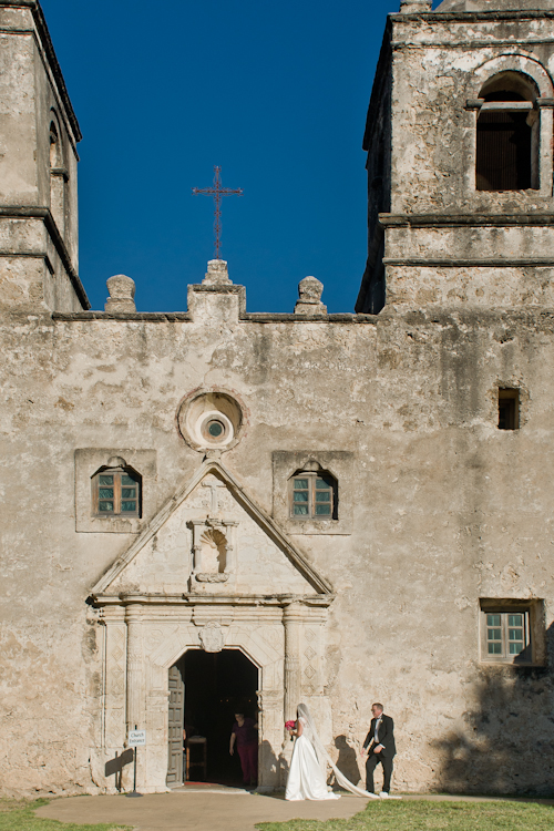 Bride Entering Mission Concepción - San Antonio Wedding Photographer