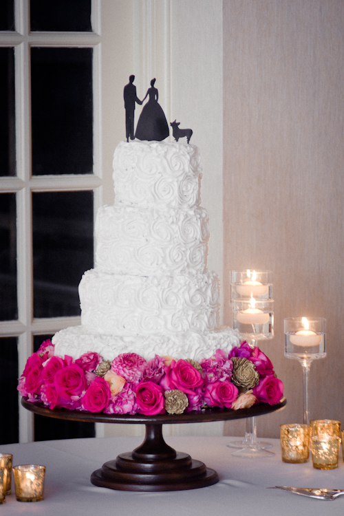 White Wedding Cake with Pink and Gold Accents - San Antonio Wedding Photographer