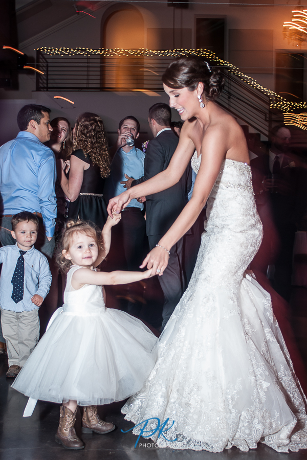 Bride and Flower Girl Dancing -  San Antonio Wedding Photographer