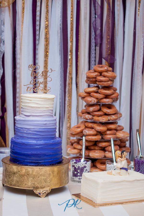 Purple and Gold Wedding Cake Table -San Antonio Wedding Photographer