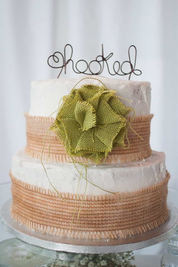 Hooked Cake Topper on Burlap Cake - San Antonio Wedding Photographer