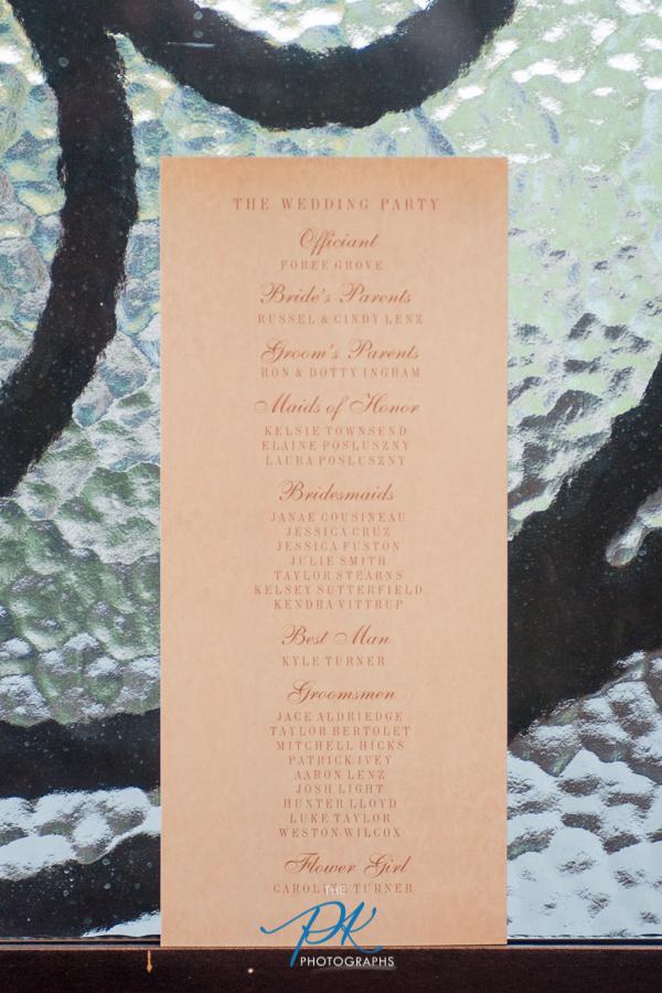 The back of Rachel and Nelson's wedding program.