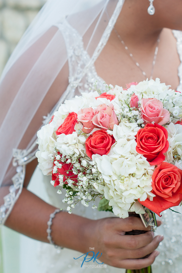 Monica's bridal bouquet was such a beautiful combination of her wedding colors.