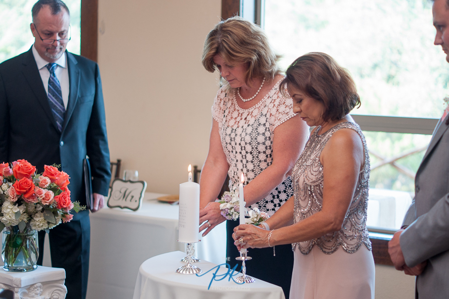Monica and Jimmy's mothers lit their candles as part of the Unity Candle Ceremony.