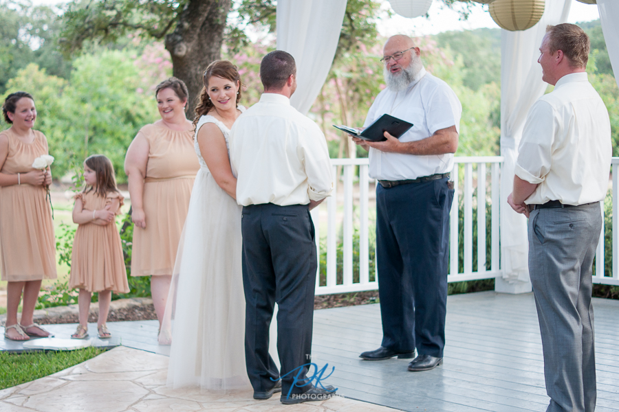 Denise and Brian's wedding ceremony at Gardens at Old Town Helotes.