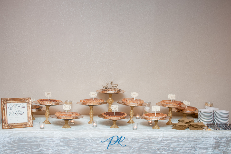 The pie table set up in the reception hall had 10 different pies.