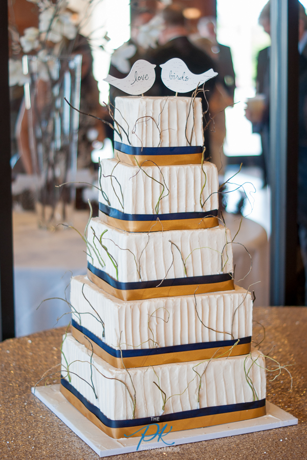 Gold and Navy Wedding Cake - San Antonio Wedding Photographer