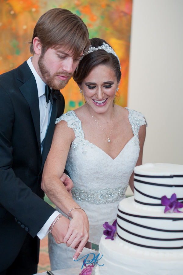 Cake Cutting During Wedding Reception at the McNay Art Museum - San Antonio Wedding Photographer