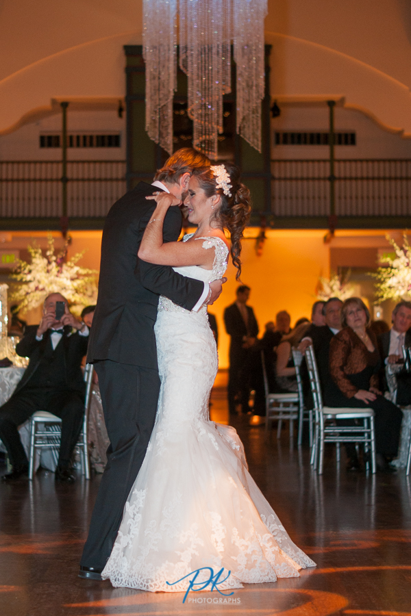 Bride and Groom Dancing at Wedding Reception at the McNay Art Museum - San Antonio Wedding Photographer