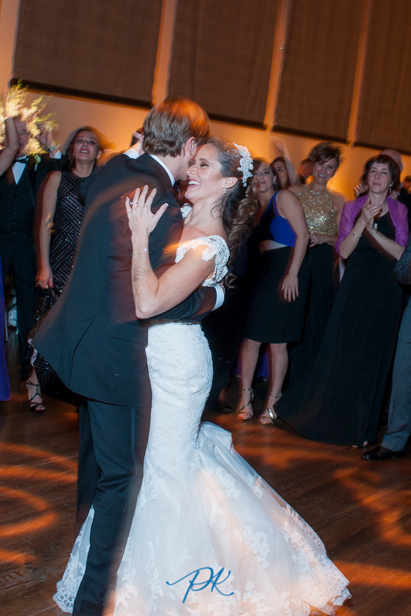 Bride and Groom Dancing at Wedding Reception at the McNay Art Museum - San Antonio Wedding Photographe