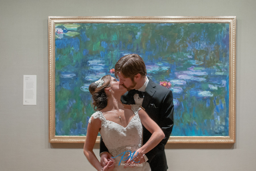 Bride and Groom Photographed Kissing in Front of Claude Monet's Water Lillies at the McNay Art Museum in San Antonio, Texas