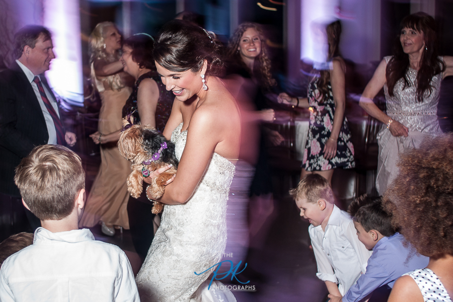 Bride on Dance Floor with Dog - San Antonio Wedding Photographer