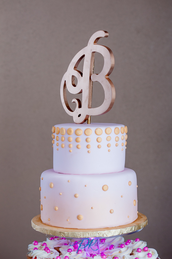Gold and Pink Wedding Cake - San Antonio Wedding Photographer