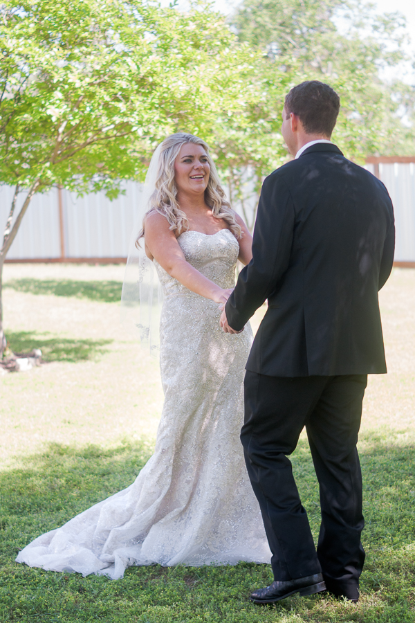 Bride and Groom First Look at Rock House Hideaway in Fredericksburg, Texas by San Antonio Wedding Photographer Parker Radbourne