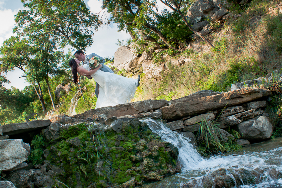 Bride and Groom at The Lodge at Bridal Veil Falls | San Antonio Wedding Photographer