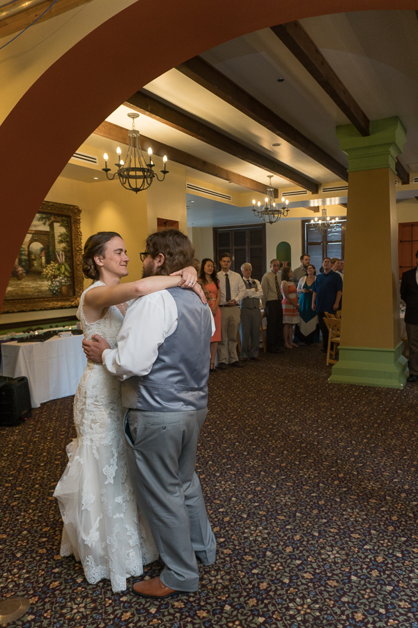 Bride and Groom First Dance during  Wedding Reception at Rita's on the River | San Antonio Wedding Photography