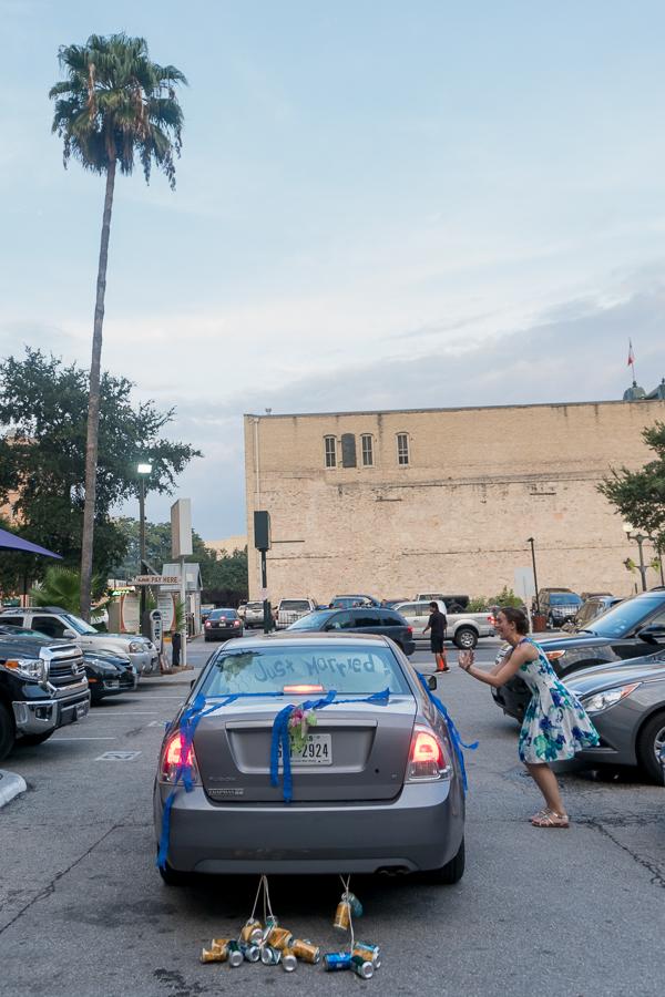 Bride and Groom Leaving Wedding Reception at Rita's on the River | San Antonio Wedding Photography