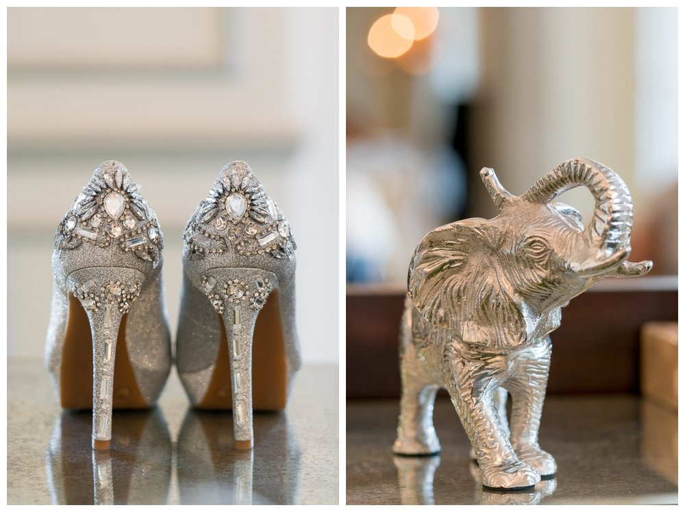 Silver Bridal Shoes at  St. Anthony Hotel Wedding Reception | San Antonio Wedding Photographer