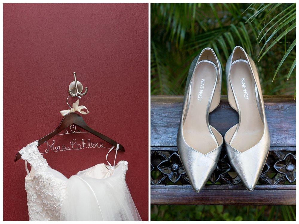 Wedding Dress on Custom Hanger and Metalic Nine West Bridal Shoes | San Antonio Wedding Photographer