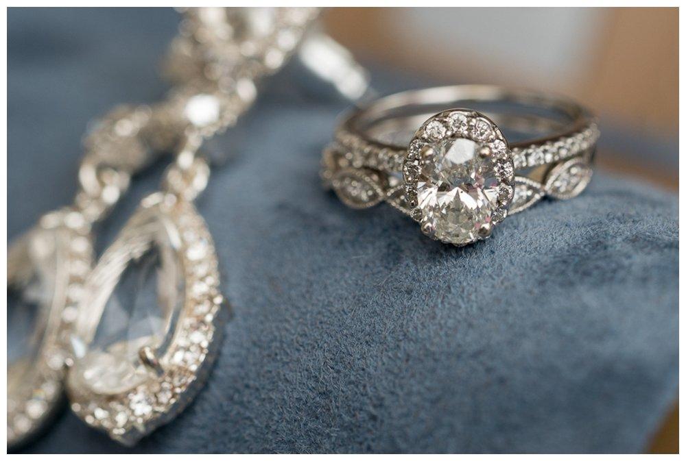Bride's Wedding Ring Set and Earrings | San Antonio Wedding Photographer