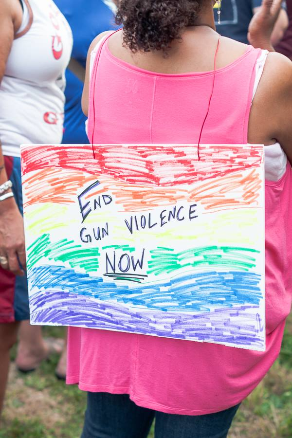 """End Gun Violence Now"" sign at protest"