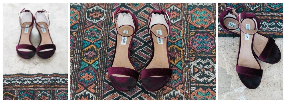 Burgandy Bridal Shoes | San Antonio Wedding Photography