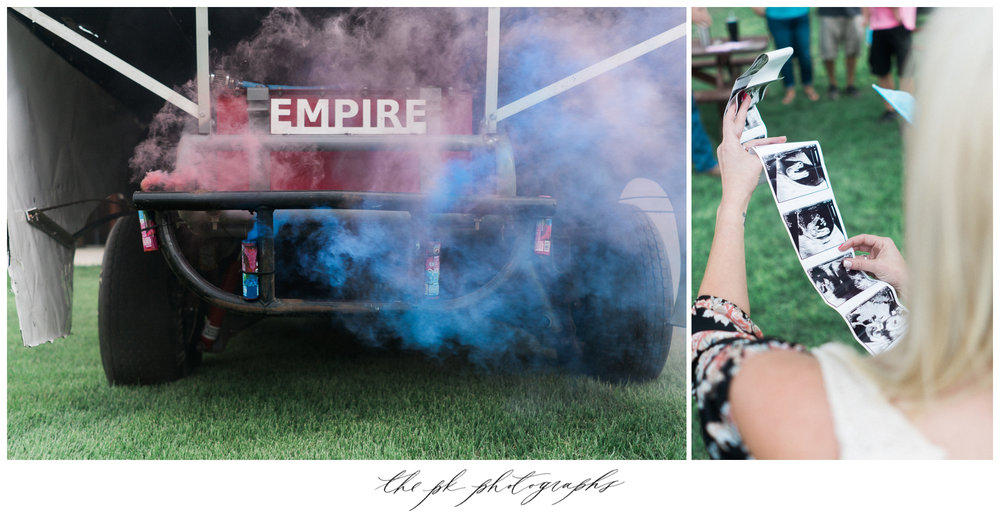 Smoke bombs on the back of the race car announced they were expecting a girl and a boy, and the the image on the right is the sonogram they recived that morning.