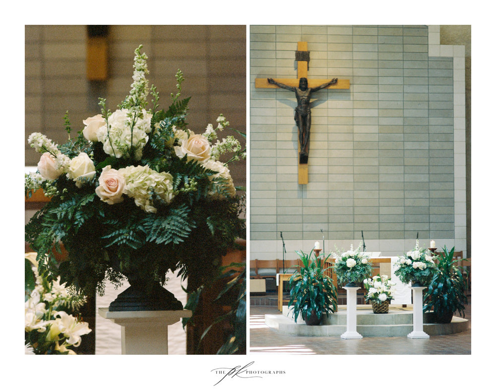 The decor at the church was kept simple, just floral arrangements, but it was beautiful.  St. Peter the Apostle Catholic Church | San Antonio Wedding Photographer