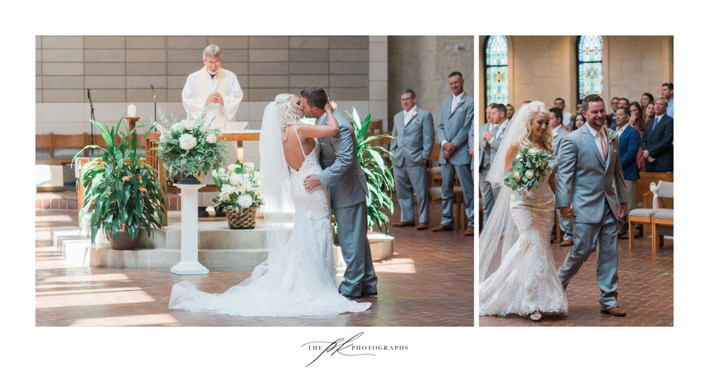 Finally - the kiss sealing their weddingvows as husband and wife, and the walk up the aisle at the end of their wedding ceremony!  St. Peter the Apostle Catholic Church | San Antonio Wedding Photographer