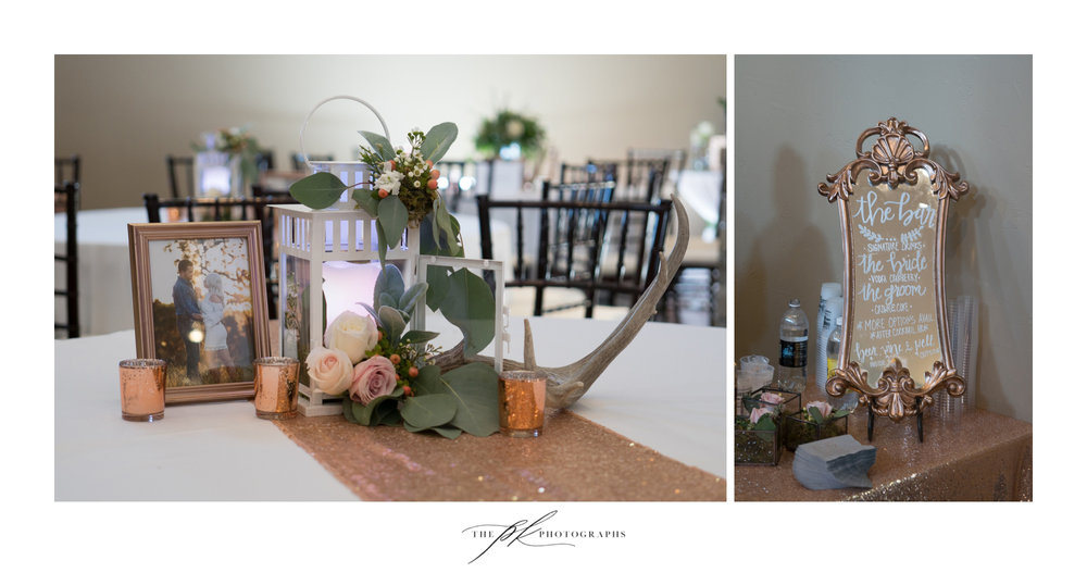 Centerpieces and overall reception decor were nothing short of perfection! A little bit of country, fresh flowers, candles and engagement photographs.  The Lodge At Country Inn Cottages | San Antonio Wedding Photographer