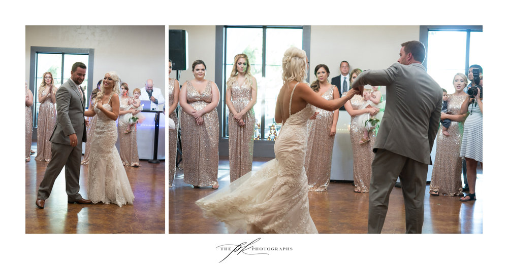 The newlywed's first dance was cute as they spun around the dance floor, surrounded by their bridal party. The Lodge At Country Inn Cottages | San Antonio Wedding Photographer