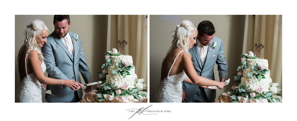 Courtney and Shane had fun with the cake cutting... The Lodge At Country Inn Cottages | San Antonio Wedding Photographer
