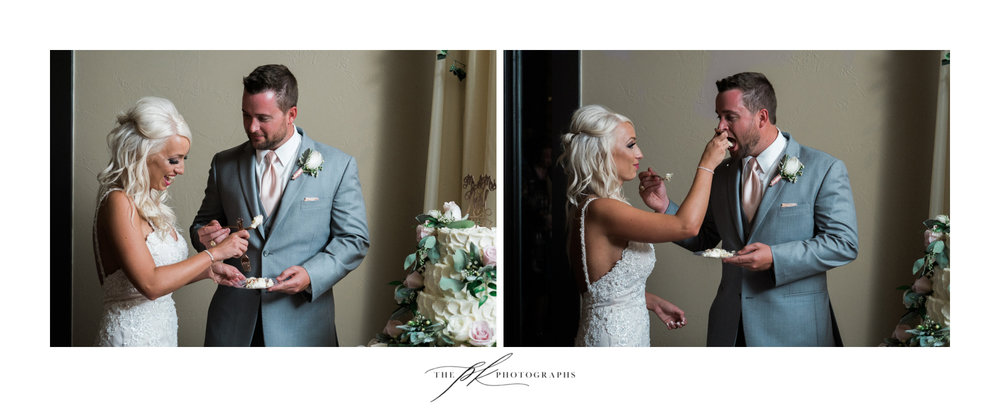 ... but she was very careful to make sure she set the standard for not smashing it in his face! The Lodge At Country Inn Cottages | San Antonio Wedding Photographer